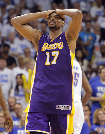 Los Angeles' Andrew Bynum reacts after a play in the fourth quarter during Game 2 in the second round of the NBA playoffs between the Oklahoma City Thunder and the L.A. Lakers at Chesapeake Energy Arena on Wednesday,  May 16, 2012, in Oklahoma City, Oklahoma. Photo by Chris Landsberger, The Oklahoman