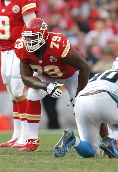 Kansas City Chiefs tackle Donald Stephenson (79) during an NFL football game against the Carolina Panthers Sunday, Dec. 2, 2012 in Kansas City, MO. (AP Photo/Ed Zurga)