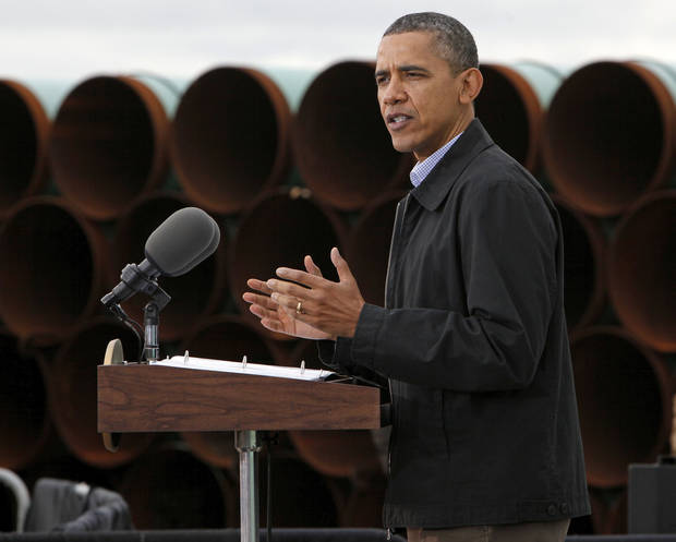 President Barack Obama speaks about energy at a TransCanada pipe yard March 22 near Cushing.  Photo by Nate Billings, The Oklahoman Archives