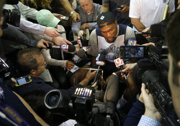 Oklahoma City's Kevin Durant talks with reporters during a shootaround before Game 6 in the first round of the NBA playoffs between the Oklahoma City Thunder and the Memphis Grizzlies at FedExForum in Memphis, Tenn., Thursday, May 1, 2014. Photo by Bryan Terry, The Oklahoman