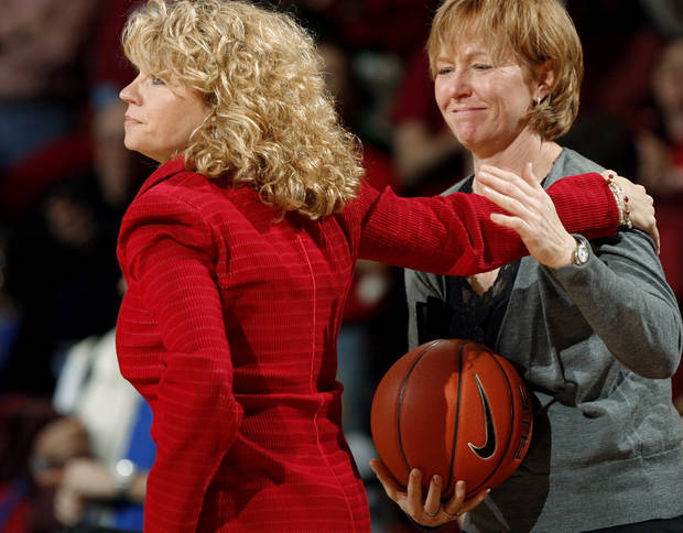 Head coach Sherri Coale hands the ball to assistant coach Jan Ross after being given the the game ball after her 300th win.  The University of Oklahoma (OU) Sooners women's college basketball team defeated the Kansas University (KU) Jayhawks 81-69 at the Lloyd Noble Center on Saturday, Jan. 23, 2010, in Norman, Okla.  Photo by Steve Sisney, The Oklahoman ORG XMIT: KOD