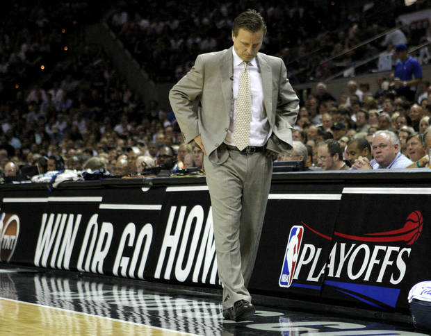 Oklahoma City coach Scott Brooks paces during Game 2 of the Western Conference Finals between the Oklahoma City Thunder and the San Antonio Spurs in the NBA playoffs at the AT&T Center in San Antonio, Texas, Tuesday, May 29, 2012. Photo by Bryan Terry, The Oklahoman
