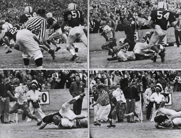 This sequence shows the touchdown Notre Dame scored, the only touchdown of the game, in the 1957 contest against Oklahoma. Notre Dame's Dick Lynch scored with 3:50 left in the game and the Fighting Irish won 7-0. ORG XMIT: 0711112204011327