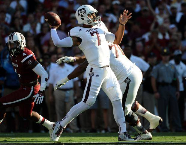 Texas A&M quarterback Kenny Hill throws against South Carolina on Thursday night. (AP Photo)