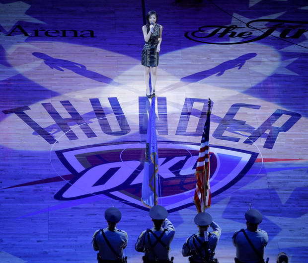 Jessica Sanchez sings the national anthem before Game 1 of the NBA Finals between the Oklahoma City Thunder and the Miami Heat at Chesapeake Energy Arena in Oklahoma City, Tuesday, June 12, 2012. Photo by Bryan Terry, The Oklahoman