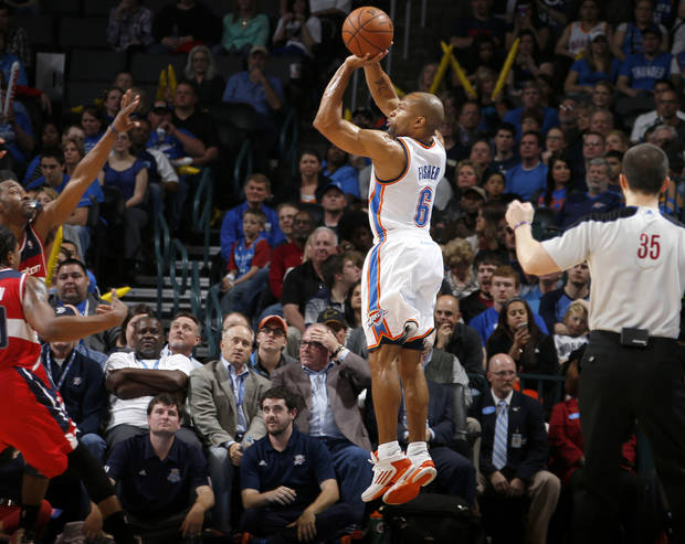 Oklahoma City's Derek Fisher (6) shoots the ball during an NBA basketball game between the Oklahoma City Thunder and the Washington Wizards at Chesapeake Energy Arena in Oklahoma City, Wednesday, March 19, 2013. Oklahoma City won 103-80. Photo by Bryan Terry, The Oklahoman