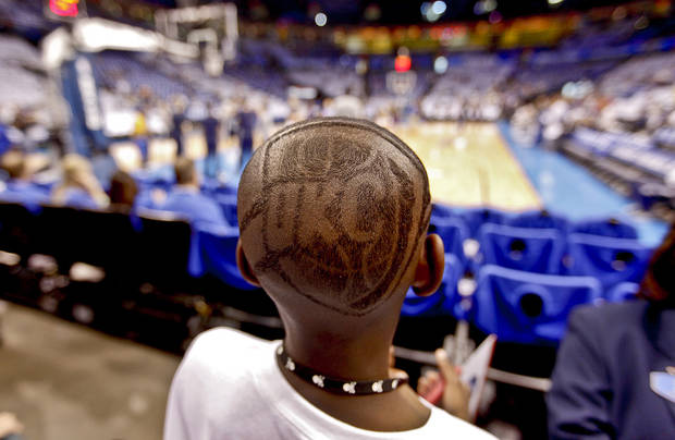 Thunder Teavion Morris shows his support for his team during Game 2 in the second round of the NBA playoffs between the Oklahoma City Thunder and the L.A. Lakers at Chesapeake Energy Arena on Wednesday,  May 16, 2012, in Oklahoma City, Oklahoma. Photo by Chris Landsberger, The Oklahoman