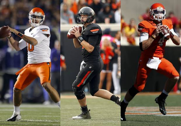 The Oklahoma State quarterback trio.