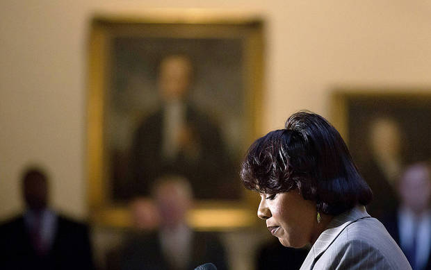 Bernice King, the daughter of Rev. Martin Luther King Jr., speaks during a service celebrating his birthday inside the Georgia State Capitol on Thursday (Jan. 17) in Atlanta. <strong>David Goldman - AP</strong>