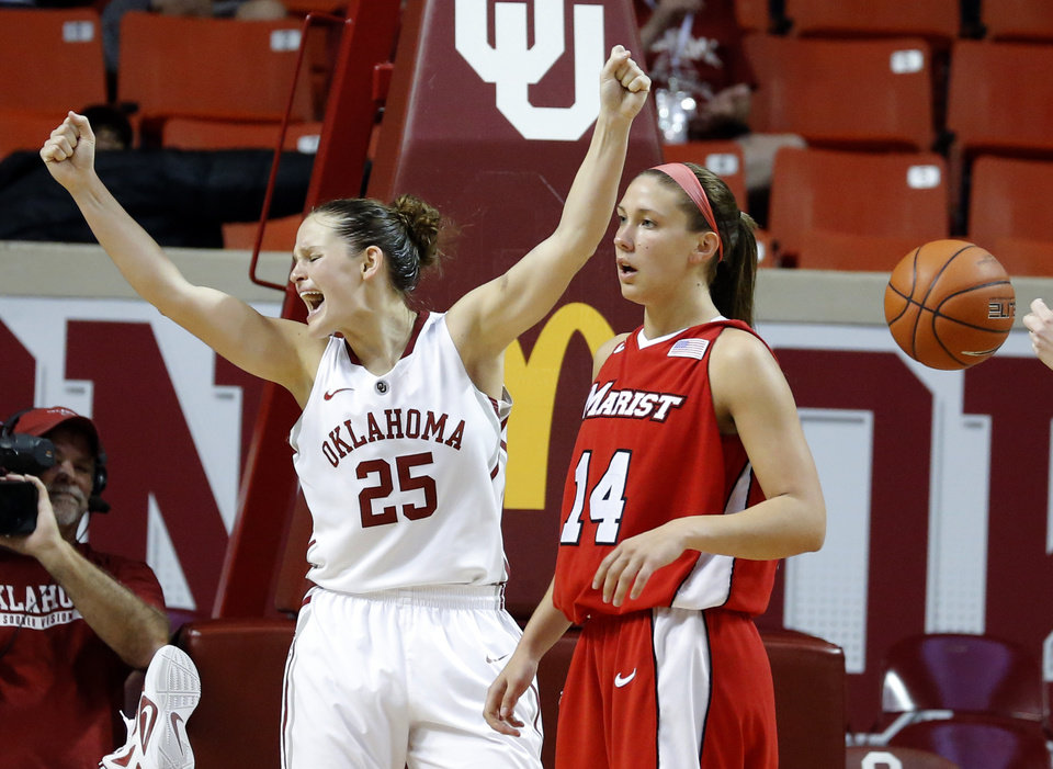Oklahoma's Whitney Hand (25) celebrates in front of Marist's Casey Dulin (14) during the women's college basketball game between the University of Oklahoma and Marist at Lloyd Noble Center in Norman, Okla.,  Sunday,Dec. 2, 2012. Photo by Sarah Phipps, The Oklahoman