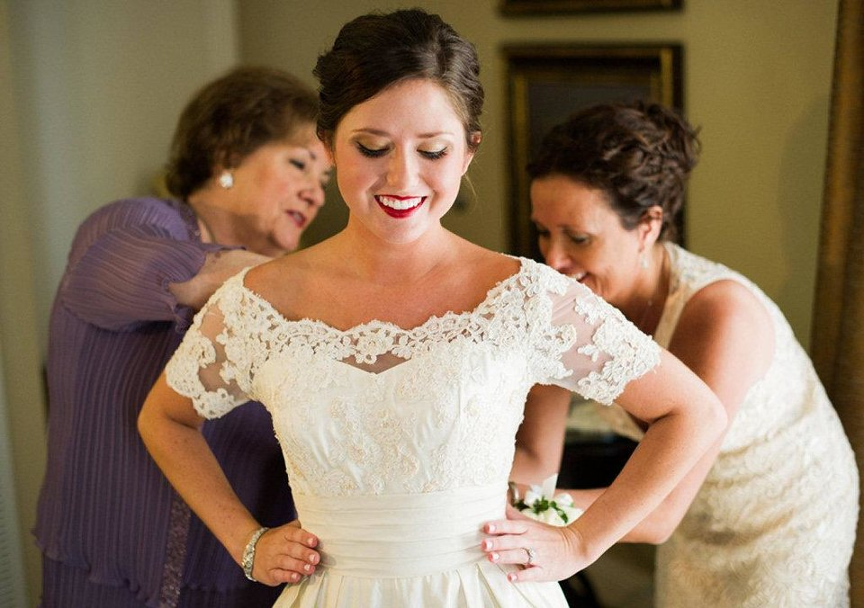 Three generations of women all wore the same wedding gown to their weddings. Shown from left are Yolanda Holliger, Katy Elder and Rose Costello. Photos provided