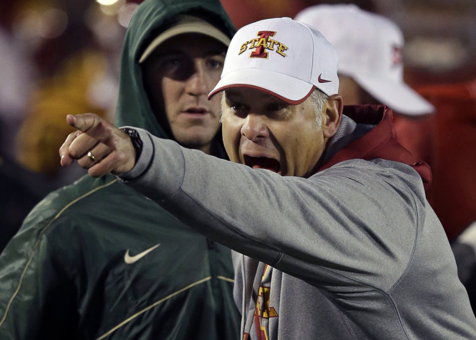 Iowa State head coach Paul Rhoads reacts after his team intercepted a pass against Baylor during the second half of an NCAA college football game on Saturday, Oct. 27, 2012, in Ames, Iowa. Iowa State won 35-21. (AP Photo/Charlie Neibergall) ORG XMIT: IACN113