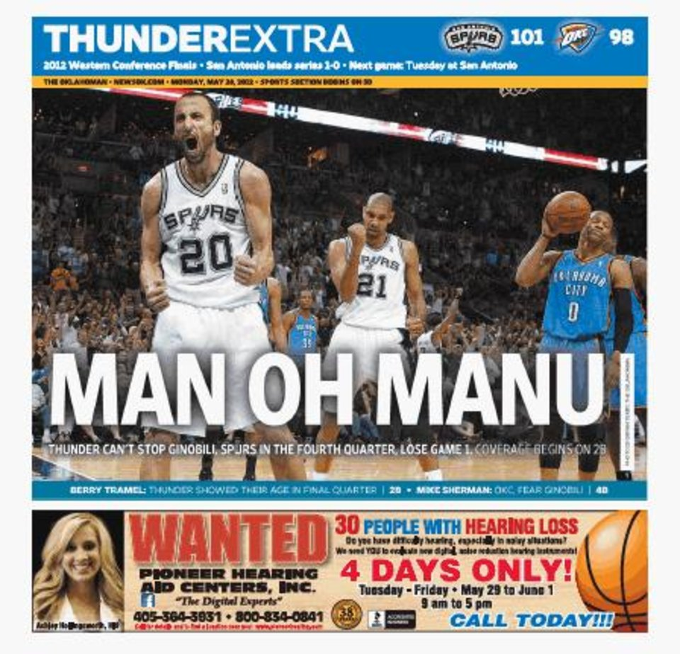 Game 1: Thunder-Spurs, May 27, 2012