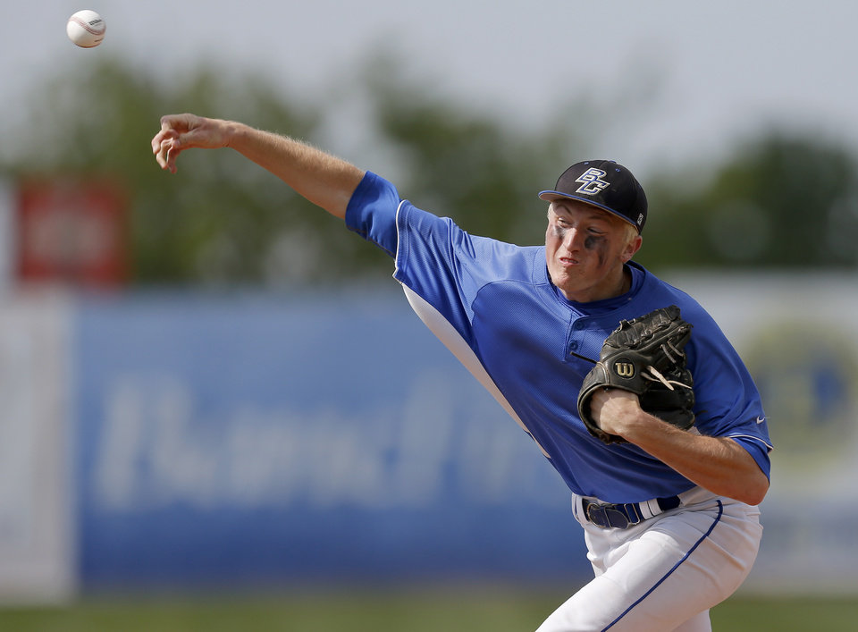 Berryhill's Zach Jackson pitches against Plainview in the Class 4A state baseball tournament championship game in Shawnee, Okla., Saturday, May 11, 2013. Photo by Bryan Terry, The Oklahoman