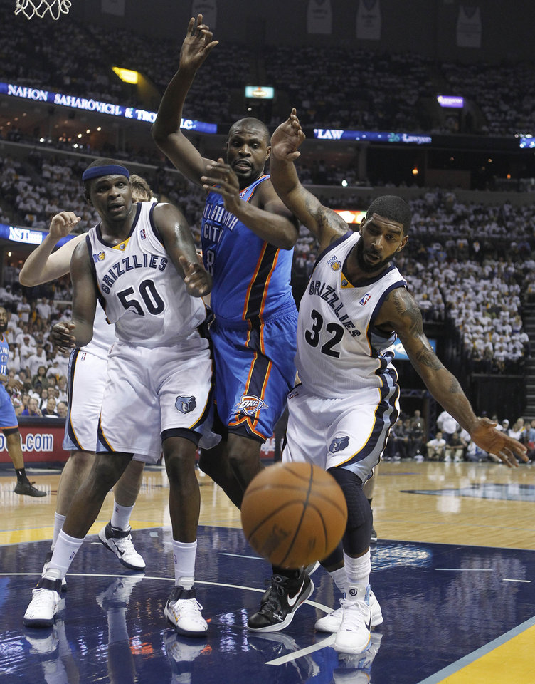 Memphis Grizzlies forward Zach Randolph (50), Oklahoma City Thunder center Nazr Mohammed, and Grizzlies guard O. J. Mayo (32) watch the ball go out of bounds during the first half of Game 6 of a second-round NBA basketball playoff series on Friday, May 13, 2011, in Memphis, Tenn. (AP Photo/Lance Murphey)