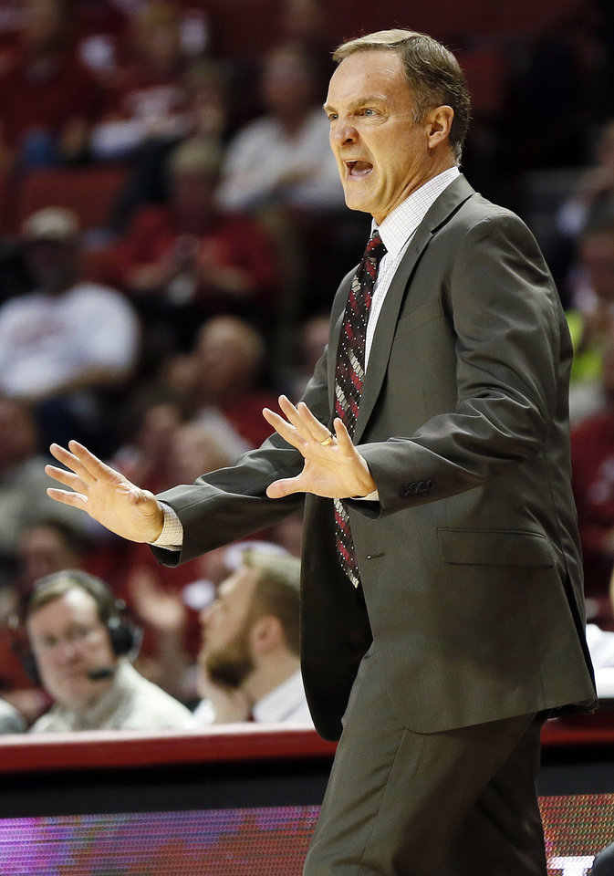 OU head coach Lon Kruger gives instructions to his team during an NCAA men\'s basketball game between the University of Oklahoma (OU) and Texas Christian University (TCU) at the Lloyd Noble Center in Norman, Okla., Monday, Feb. 11, 2013. OU won, 75-48. Photo by Nate Billings, The Oklahoman