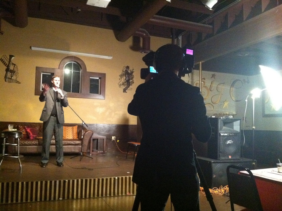Photo -  Spencer Hicks hosting Static Comedy. Kyle Roberts shooting.