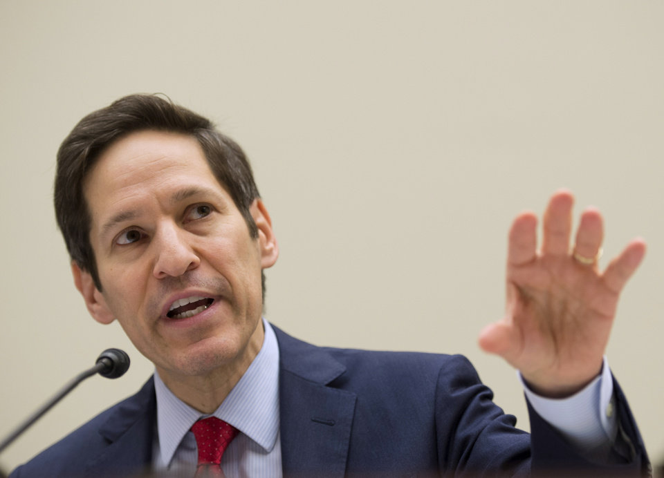 Photo - Centers for Disease Control and Prevention (CDC) Director Dr. Tom Frieden testifies on Capitol Hill in Washington Thursday, Aug. 7, 2014, before the House subcommittee on Africa, Global Health, Global Human Rights, and International Organizations hearing on