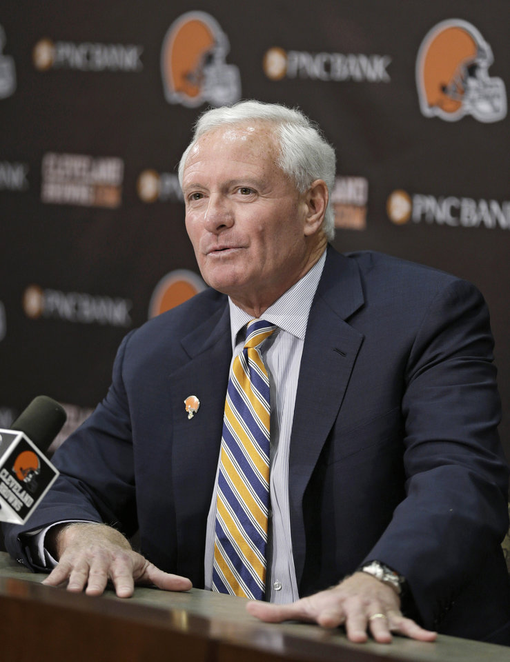 Photo - Cleveland Browns owner Jimmy Haslam answers questions during a news conference Tuesday, Feb. 11, 2014, in Berea, Ohio. Haslam announced Tuesday that CEO Joe Banner will step down in the next two months and general manager Michael Lombardi is leaving the team. It's yet another stunning development for a franchise that has undergone nearly constant change in the past 15 years. (AP Photo/Tony Dejak)