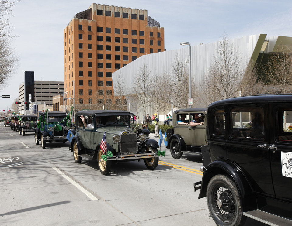 The Sooner Model A Club of Oklahoma drove their cars in the annual Saint Patrick's Day Parade in downtown Oklahoma City, OK, Saturday, March 16, 2013,  By Paul Hellstern, The Oklahoman