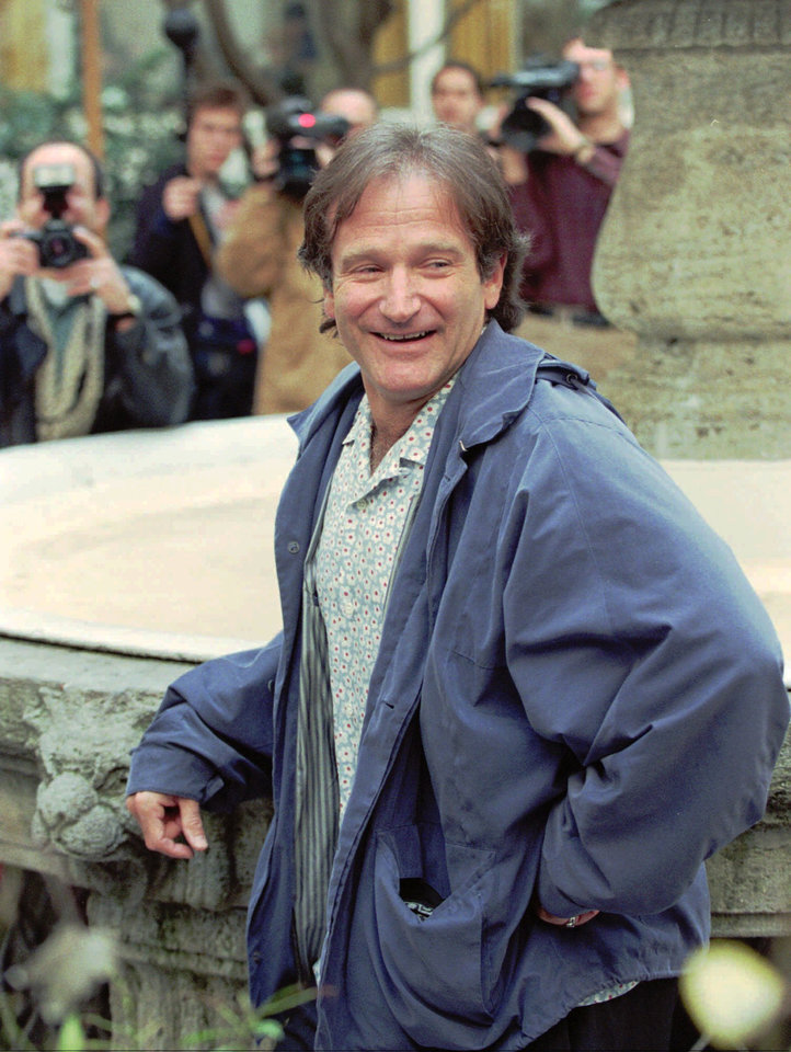 "Photo - Actor-comedian Robin Williams poses for the photographers in the backyard of a hotel in Hamburg, Germany, on Friday, April 19, 1996. Williams, well known for his movies ""Mrs. Doubtfire"", ""Hook"", ""Dead Poets Society"",  ""Good Morning Vietnam"" and more recently ""Jumanji"", is promoting  his new picture ""Birdcage.""(AP Photo/Michael Probst) <%% 0 PICTURE_OK HEADER_OK 1 1 %%>"