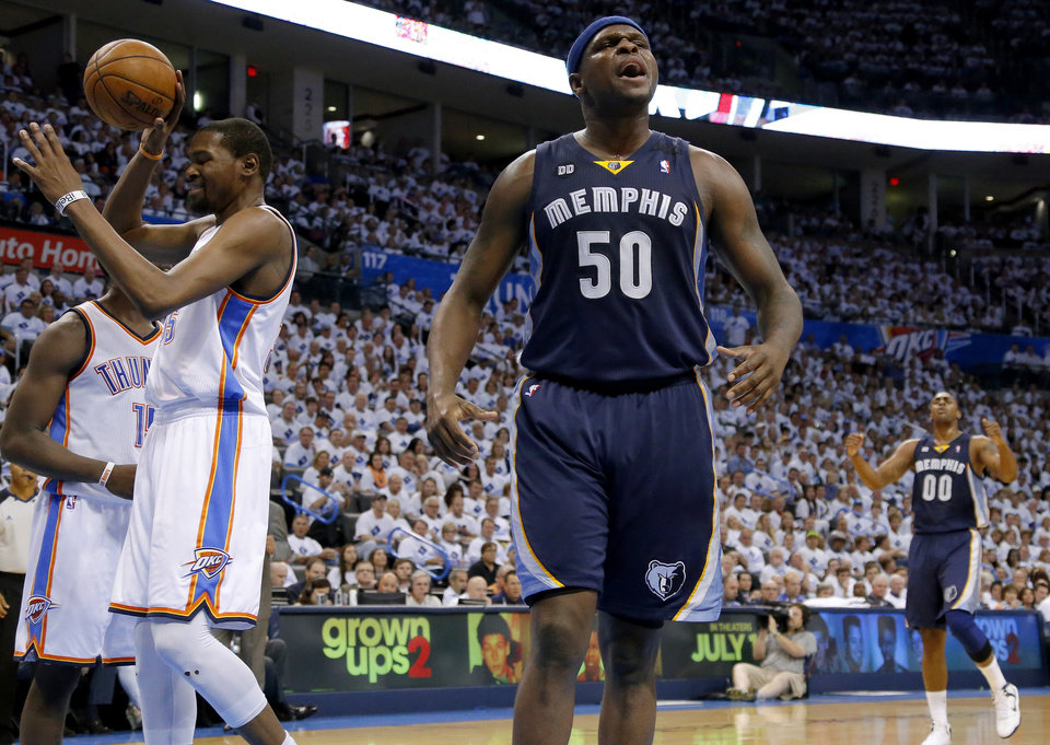 Memphis' Zach Randolph (50) reacts beside Oklahoma City's Kevin Durant (35) during Game 5 in the second round of the NBA playoffs between the Oklahoma City Thunder and the Memphis Grizzlies at Chesapeake Energy Arena in Oklahoma City, Wednesday, May 15, 2013.  Photo by Bryan Terry, The Oklahoman