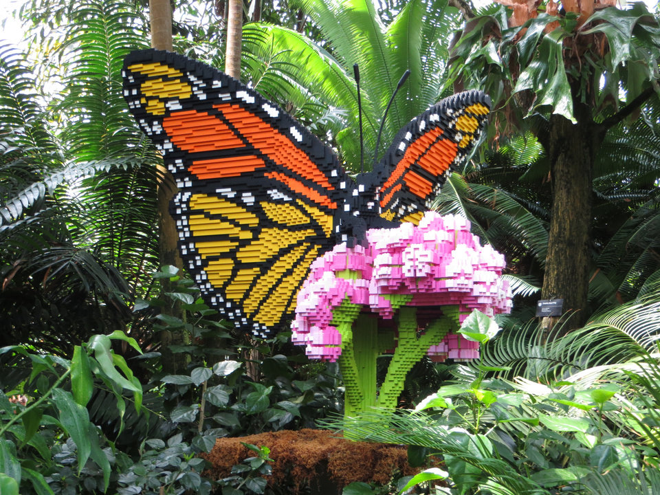 Photo -  The current exhibition at the Missouri Botanical Garden features giant flowers and insects made of Legos. Photo by Elaine Warner, for The Oklahoman