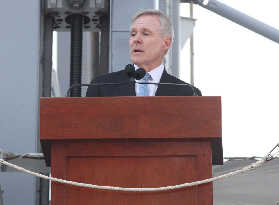Secretary of the Navy Ray Mabus speaks during the commissioning ceremony for the USS Michael Murphy, the Navy's newest guided-missile destroyer, Saturday Oct. 6, 2012 in New York. The ship honors Navy SEAL Lt. Michael P. Murphy, a Long Island native, who became the first American awarded the Medal of Honor during the Afghanistan War when he was killed during an ambush in 2005. (AP Photo/Tina Fineberg)