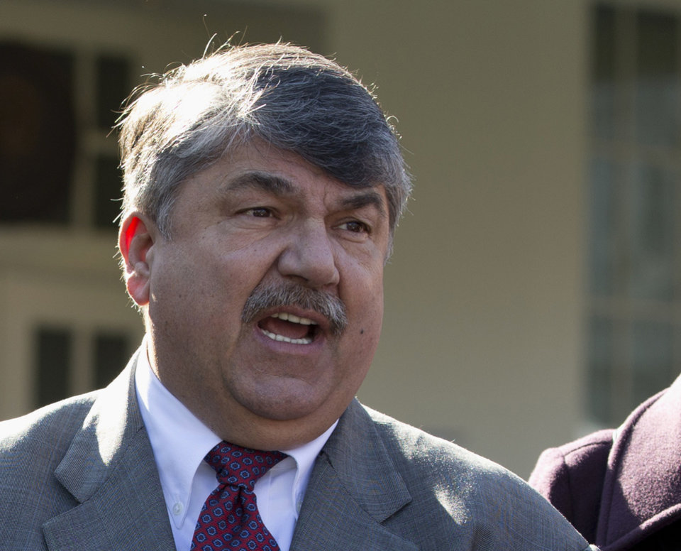 FILE - This Nov. 13, 2012 file photo shows AFL-CIO President Richard Trumka speaking to reporters outside the White House in Washington. The nation\'s labor unions suffered sharp declines in membership last year, the Bureau of Labor Statistics said Wednesday, led by losses in the public sector as cash-strapped state and local governments laid off workers and _ in some cases _ limited collective bargaining rights. (AP Photo/Carolyn Kaster, File)