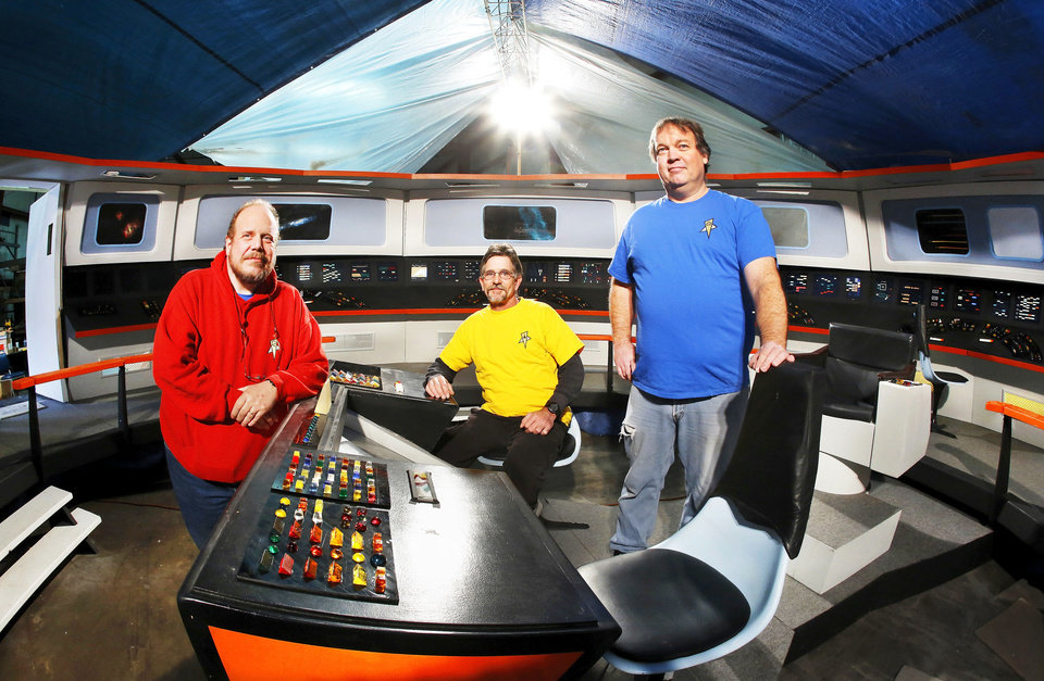 Filmmakers, from left, Scott Johnson, Jim Bray and Richard Wells, re-created the bridge of the Starship Enterprise.Photos by Jim Beckel, The Oklahoman