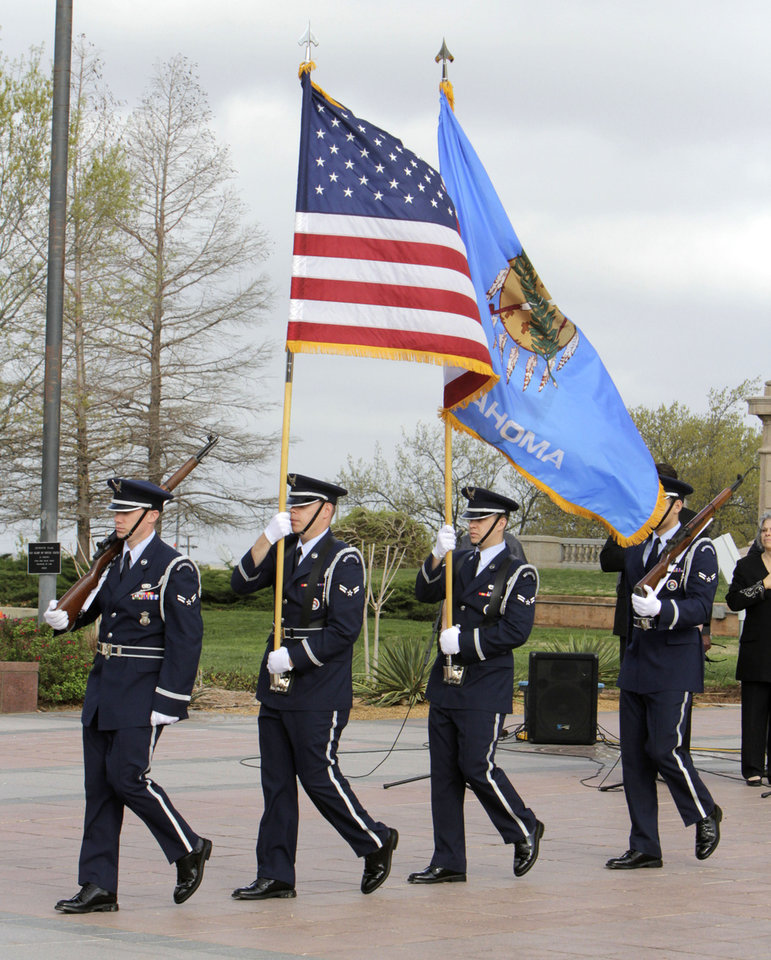 A color guard presents the colors during a ceremony at the State Capitol in Oklahoma City, OK, involving the reading of the names of all the fallen post 9-11 Oklahoma soldiers,  Saturday, March 17, 2012,  By Paul Hellstern, The Oklahoman