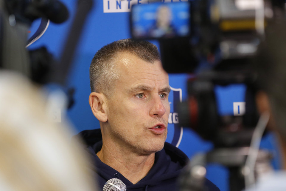 Photo - Coach Billy Donovan speaks during Thunder post practice interview Thursday, September 28, 2017. Photo by Doug Hoke, The Oklahoman