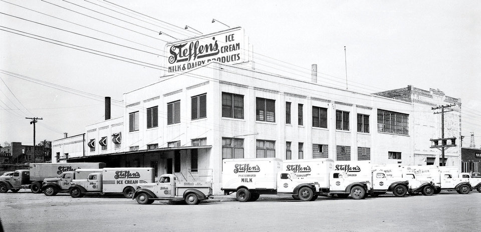 Steffen's Ice Cream at 101 E Main is shown in this 1946 photo. The dairy operated at the site for several decades. Developers are set to demolish the structure next month and replace it with a Holiday Inn Express. PHOTO PROVIDED