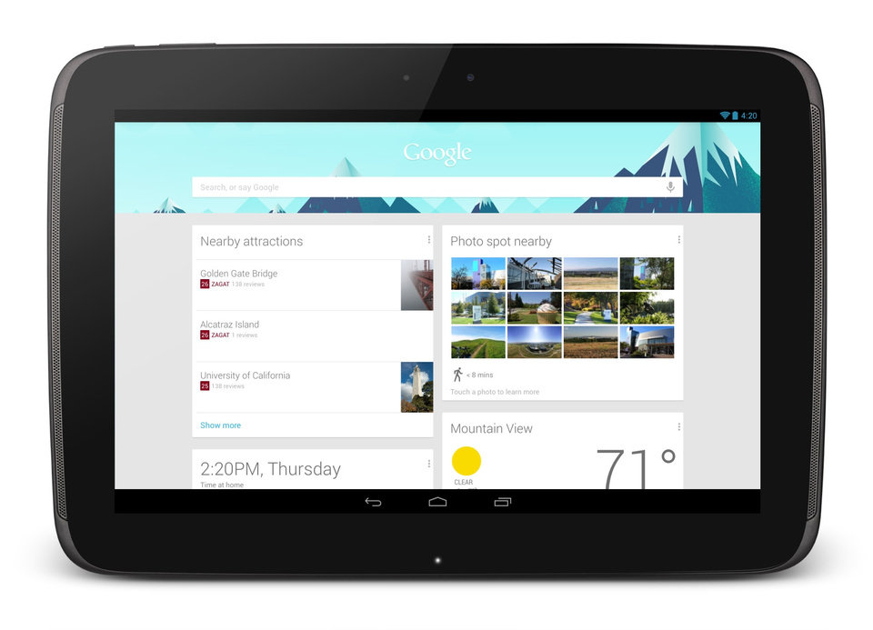 Photo -   This undated image provided by Google shows Google's new 10-inch tablet, the Nexus 10. The Nexus, which starts shipping Tuesday, Nov. 13, 2012, appeares on its face to be a good alternative to Apple's general-purpose tablet, and with a price tag that's $100 less. (AP Photo/Google)