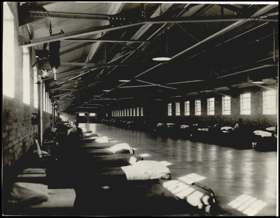 Photo -  Right: Here is a 1934 view of the dormitory at the federal prison in El Reno.