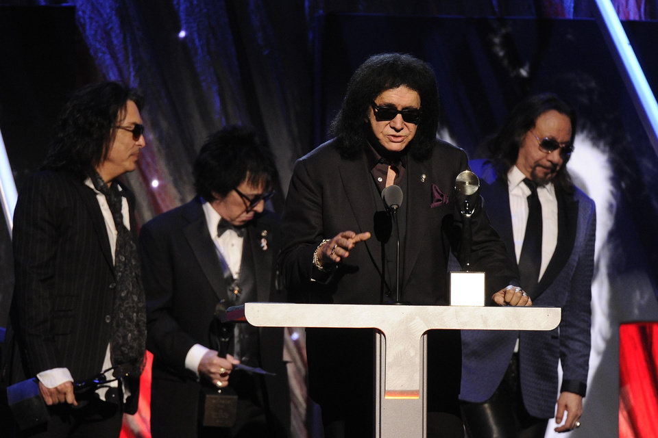 Photo - Hall of Fame Inductees, KISS, Paul Stanley, Peter Criss, Gene Simmons, and Ace Frehley speak at the 2014 Rock and Roll Hall of Fame Induction Ceremony on Thursday, April, 10, 2014 in New York. (Photo by Charles Sykes/Invision/AP)