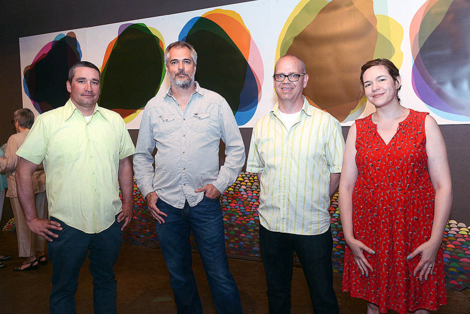 Photo - Artists Aaron Wilson, Tim Dooley, Curtis Jones, and Laura Berman. Photo by David Faytinger, for The Oklahoman
