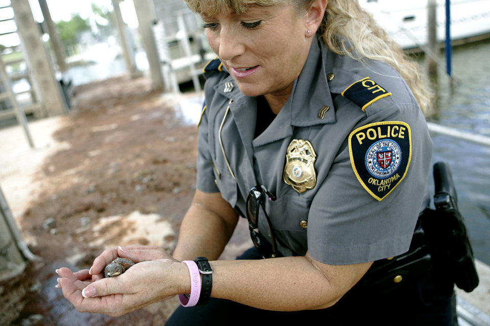Photo - Oklahoma City Police Sgt. Lori Osborn holds the lone survivor, a baby mudswallow, on the Lake Hefner wet stalls in Oklahoma City, on Monday, June 9, 2008. 186 of the birds were killed and only one survived after a man destroyed their nests this weekend. By John Clanton, The Oklahoman