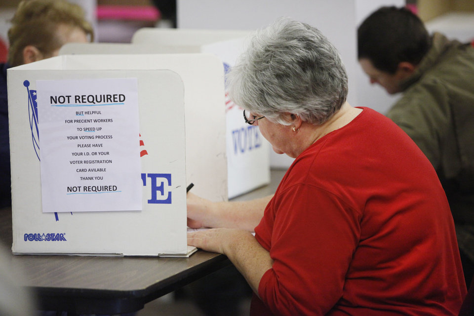 Glenna Burrell votes at Woodcrest Baptist Church in Guthrie, November  2 , 2010. Photo by Steve Gooch, The Oklahoman