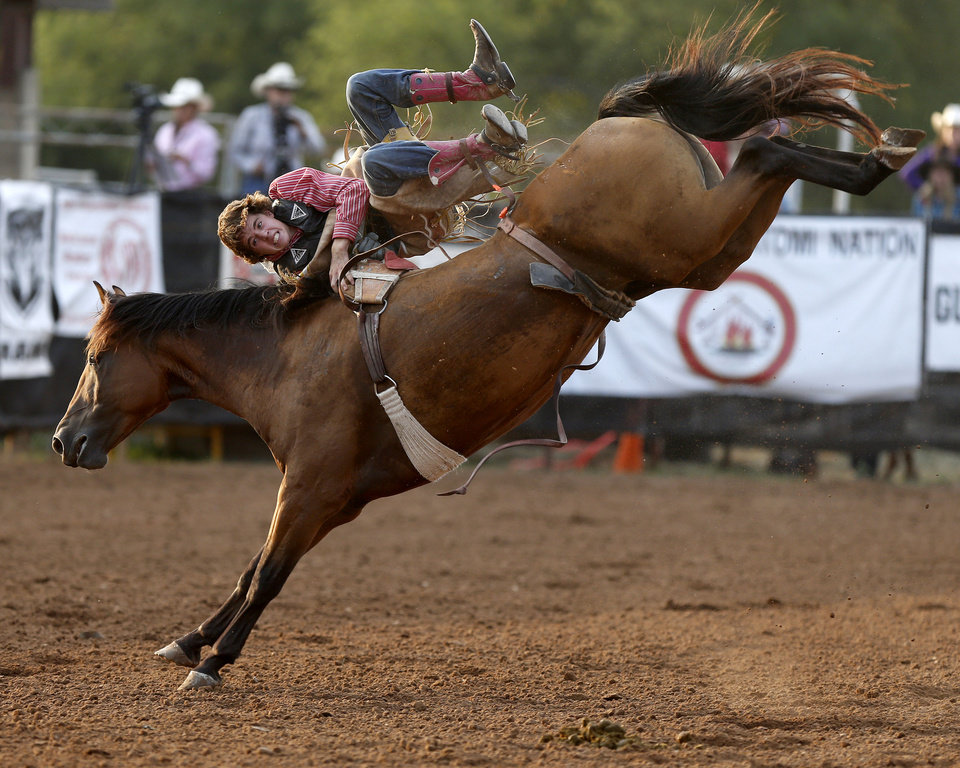 Levi Molesworth of Logan, New Mexico, competes in the bareback bronc competition during the International Finals Youth Rodeo at the Heart of Oklahoma Exposition Center in Shawnee, Okla., Friday, July 13, 2012. Photo by Bryan Terry, The Oklahoman