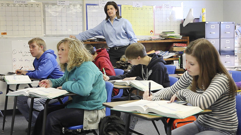 Mulhall-Orlando High School Principal Joline Oldenburg is shown in a classroom recently.  <strong>David McDaniel - The Oklahoman</strong>