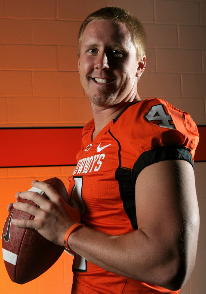Photo -  Quarterback Brandon Weeden poses for a photo during Oklahoma State University football media day in Stillwater, Okla., Saturday, August 2, 2008. PHOTO FROM THE OKLAHOMAN ARCHIVE
