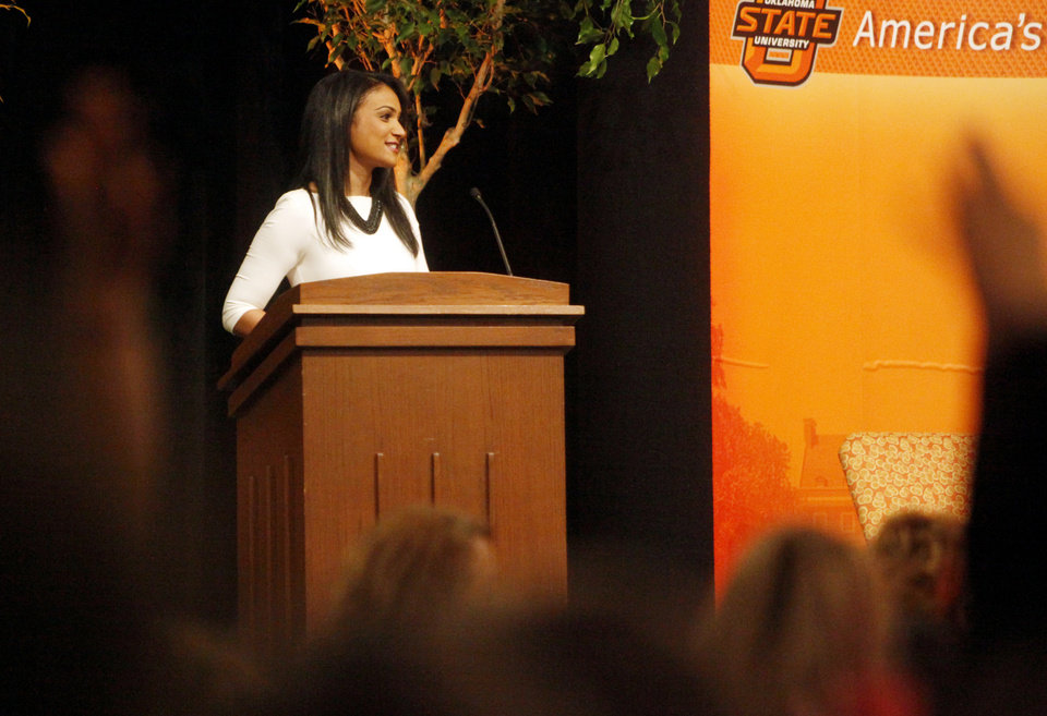 Photo -  2014 Miss America, Nina Davuluri, gives a speech to Stillwater third-grade students Thursday at the Wes Watkins Center. Davuluri spoke to the students about the importance of education as part of Oklahoma State's Research Week. Photo by KT King, for The Oklahoman   KT King -  KT King, The Oklahoman
