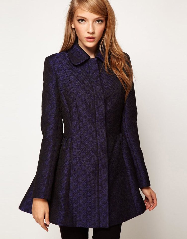 Photo - To get the first lady's elegant daytime look, try the Asos Jacquard Dolly coat for $110.50 from Asos.com (Asos.com via Los Angeles Times/MCT)