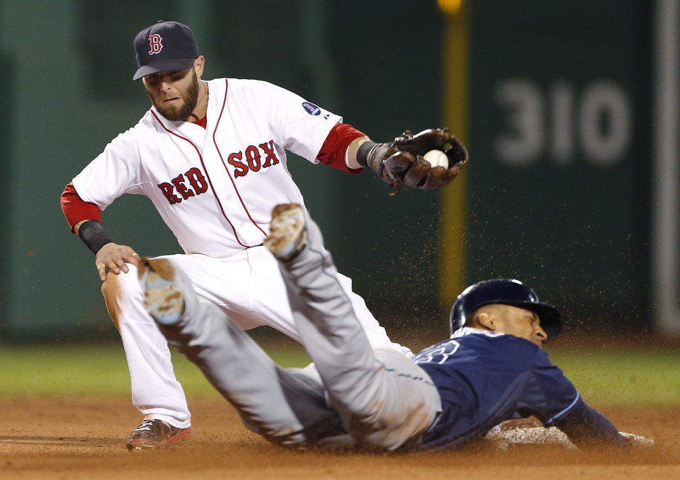 Photo - Tampa Bay Rays' Desmond Jennings slides into second with a stolen base as Boston Red Sox second baseman Dustin Pedroia grabs the throw during the seventh inning of a baseball game at Fenway Park in Boston on Wednesday, July 24, 2013. (AP Photo/Elise Amendola)