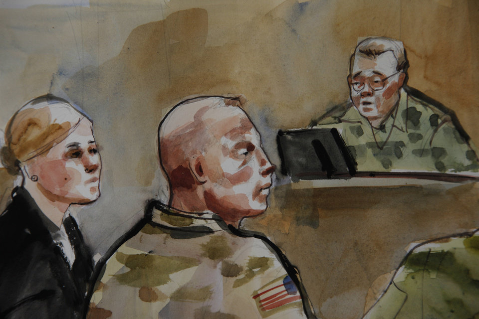 File-In this detail of a courtroom sketch, U.S. Army Staff Sgt. Robert Bales, center, is shown Monday, Nov. 5, 2012, during a preliminary hearing in a military courtroom at Joint Base Lewis McChord in Washington state. An Afghan National Army guard who reported seeing a U.S. soldier outside a remote base the night 16 civilians were massacred in March said the man did not stop even after being asked three times to do so. The guard, named Nematullah, testified by live video from Kandahar, Afghanistan, on Friday Nov. 9, 201 during an overnight session for a hearing in the case against Staff Sgt. Robert Bales. At right is Investigating Officer Col. Lee Deneke, and at left is Bales\' attorney, Emma Scanlan. (AP Photo/Lois Silver) TV OUT