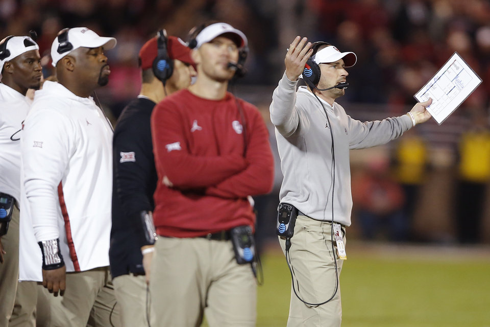 Photo - Oklahoma defensive coordinator Alex Grinch gestures during an NCAA football game between the University of Oklahoma Sooners (OU) and the Iowa State University Cyclones at Gaylord Family-Oklahoma Memorial Stadium in Norman, Okla., Saturday, Nov. 9, 2019. [Bryan Terry/The Oklahoman]