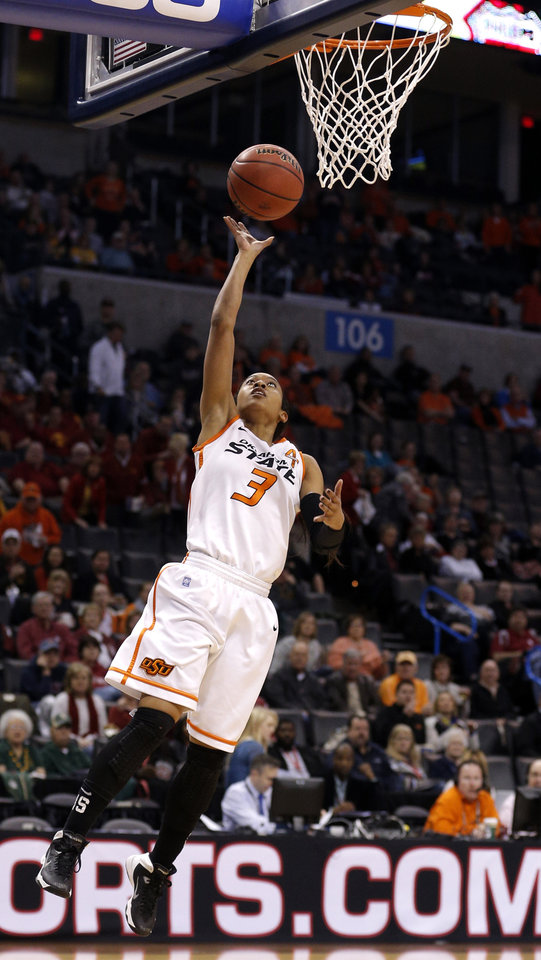 Photo - Oklahoma State's Tiffany Bias (3) shoots a lay up during the Women's Big 12 basketball tournament at  Chesapeake Energy Arena  in Oklahoma City, Okla., Saturday, March 8, 2014. Photo by Sarah Phipps, The Oklahoman