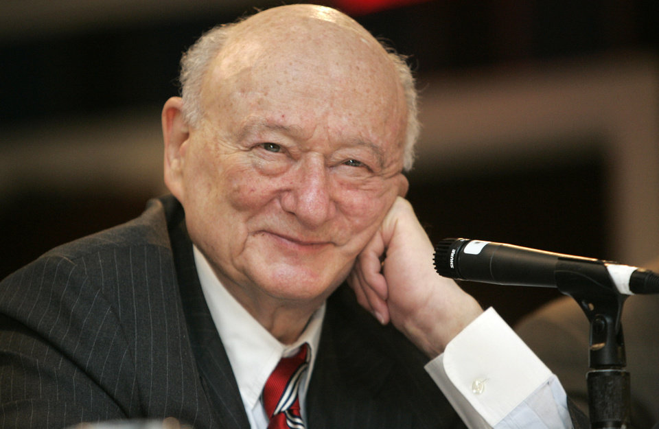 FILE - In this April 18, 2007, file photo, former New York Mayor Ed Koch listens during the 9th annual National Action Network convention in New York. Koch, the combative politician who rescued the city from near-financial ruin during three City Hall terms, has died at age 88. Spokesman George Arzt says Koch died Friday morning Feb. 1, 2013 of congestive heart failure. (AP Photo/Frank Franklin II, File)
