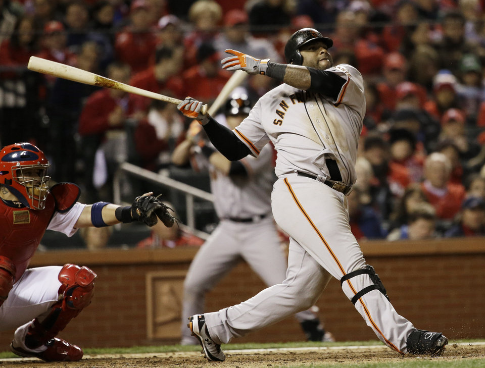 Photo -   San Francisco Giants' Pablo Sandoval hits a home run during the eighth inning of Game 5 of baseball's National League championship series against the St. Louis Cardinals, Friday, Oct. 19, 2012, in St. Louis. (AP Photo/David J. Phillip)